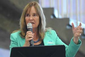 Denise Merrill, Secretary of the State of Connecticut, speaks at the Greenwich Democratic Town Committee Cookout and Campaign Rally at Greenwich High School in Greenwich, Conn. Sunday, Sept. 16, 2018.