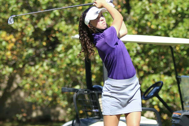CM sophomore Sophee Brown watches her tee shot on the par 3, hole No. 17 at Belk Park golf course Wednesday in the Mississippi Valley Conference Tournament in Wood River. Brown shot a career-best 81 to place third in the tourney.