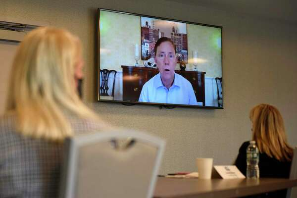 Connecticut Gov. Ned Lamont speaks virtually during the Stamford Chamber of Commerce's 33rd annual meeting and awards ceremony at the Residence Inn by Marriott in Stamford, Conn., on Wednesday, Sept. 30, 2020.