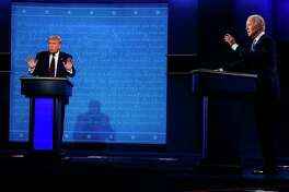 President Donald Trump and former vice president Joe Biden debate at Case Western Reserve University in Cleveland on Tuesday, Sept. 29, 2020.