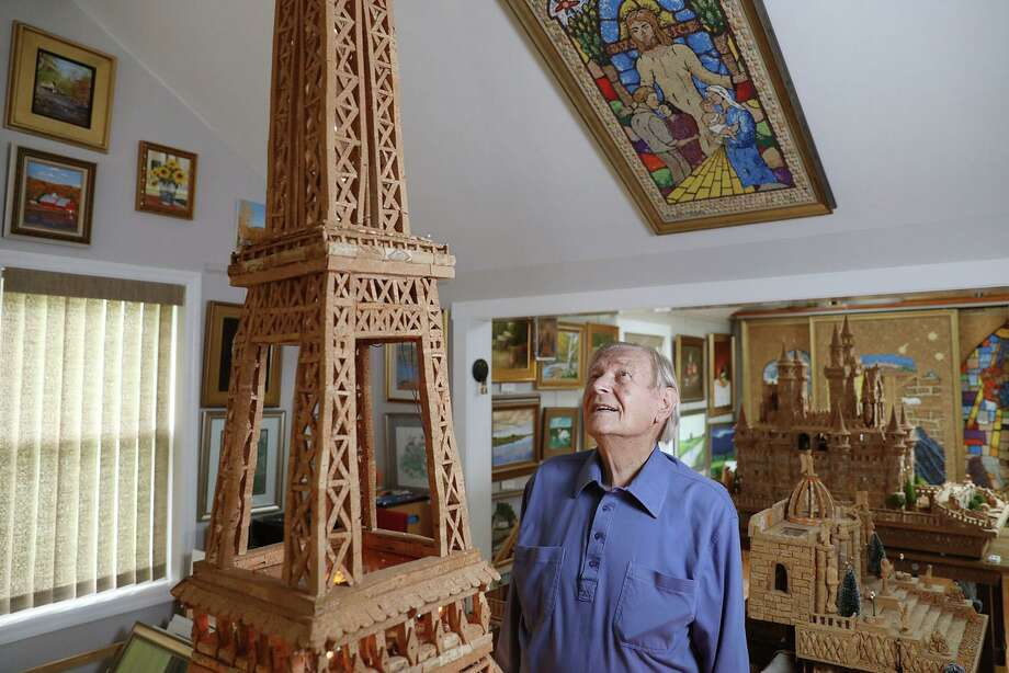 At 92, Walter Deuschle needed something to pass the time during the pandemic and to help him power through chemotherapy. So he built the Eiffel Tower with about 2000 corks over nine months. (TIM TAI/The Philadelphia Inquirer/TNS) Photo: TIM TAI, MBR / TNS / The Philadelphia Inquirer
