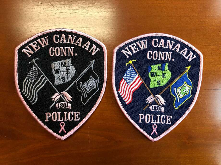 New Canaan police officers are going to wear pink patches for the month of October for breast cancer awareness month, to raise awareness about breast cancer, and money for research, and treatment for the disease. The officers purchased the pink patches for $10 each, and can substitute their traditional uniform patches, that they usually wear on each of their uniforms when they are on duty, for the pink patches. Officers are also going to have the pink patches sewn on their uniforms for the month. Photo: New Canaan Police Department / Contributed Photo
