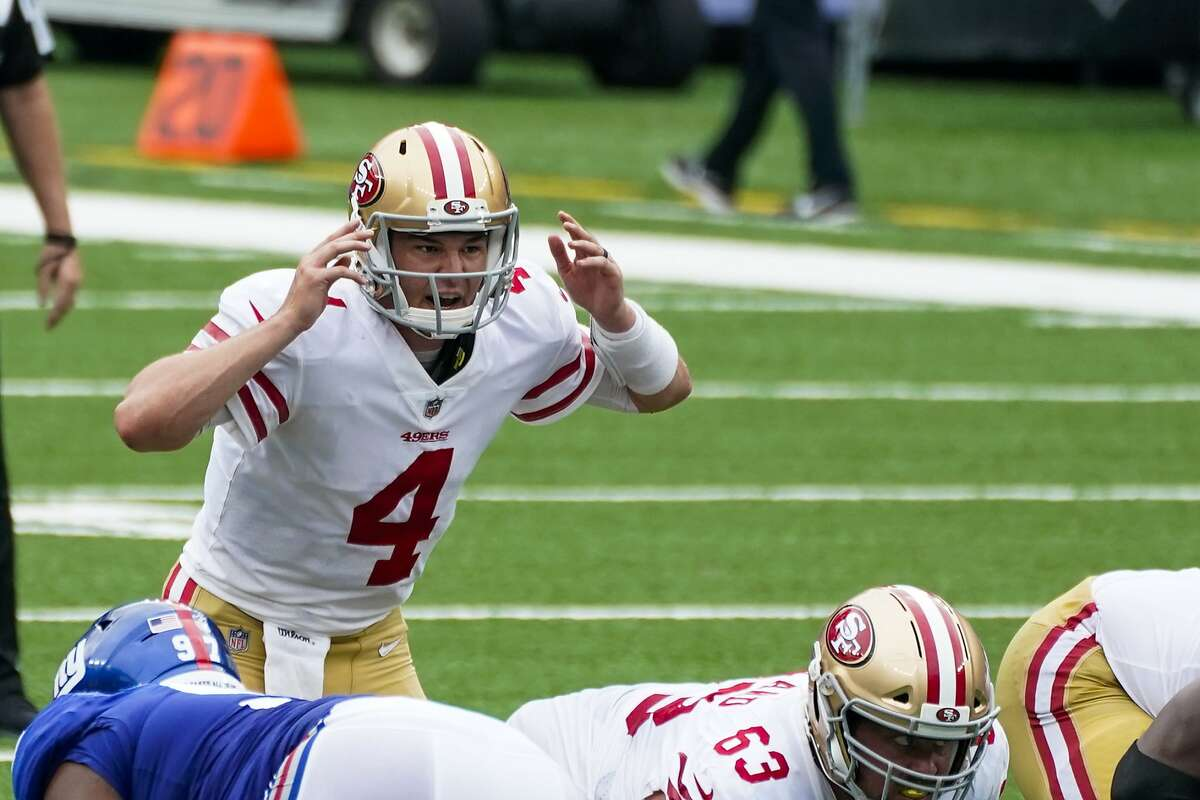 San Francisco 49ers quarterback Nick Mullens (4) calls a play during the first half of an NFL football game against the New York Giants, Sunday, Sept. 27, 2020, in East Rutherford, N.J. (AP Photo/Corey Sipkin)