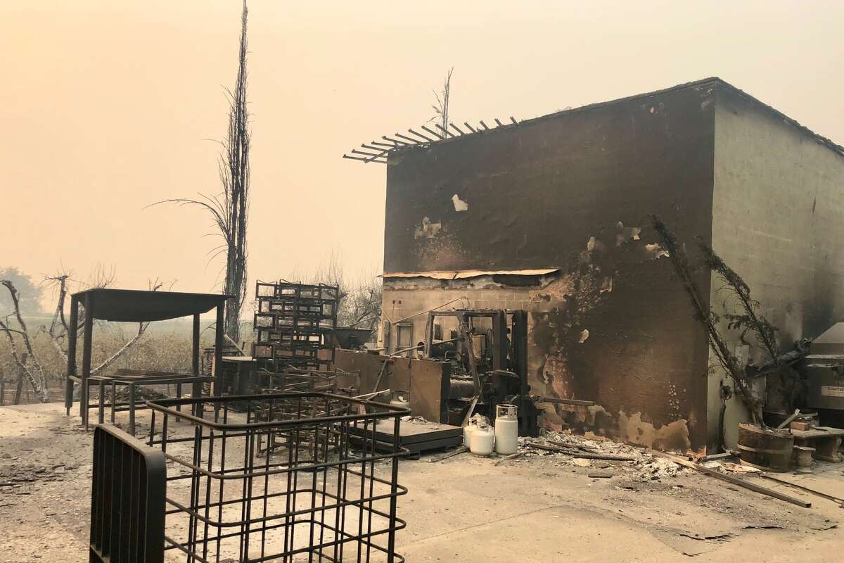 The Glass Fire tore through wine country on Sept. 27 and damaged several wineries in the region. One of them was Dutch Henry Winery in Calistoga, pictured here.