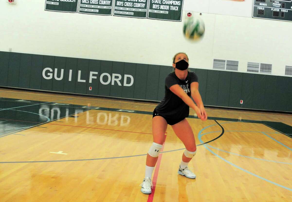 Guilford volleyball player Emma Appleman during practice at the school in Guilford, Conn., on Tuesday Sept. 29, 2020. Appleman, is arguably the best player in the state, and is the daughter of Yale volleyball coach Erin Appleman.
