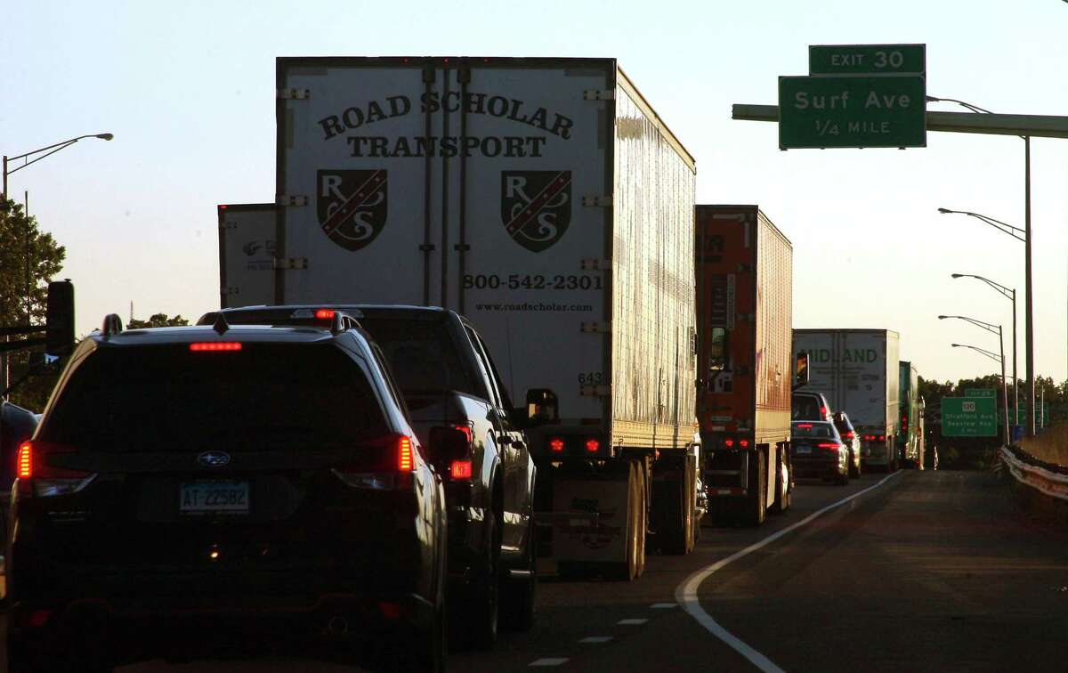 Traffic moves at a crawl after a crash in the southbound lane on I95 near exit 30 in Stratford, Conn., on Wednesday Sept. 30, 2020. Traffic was backed up six miles into Milford after the accident which was reported at 3:49 p.m.