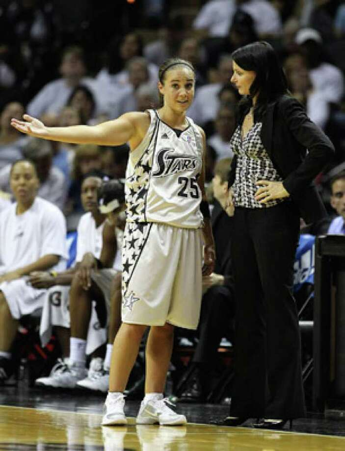 Silver Stars guard Becky Hammon (left) and head coach Sandy Brondello talk during Saturday's loss to Phoenix.