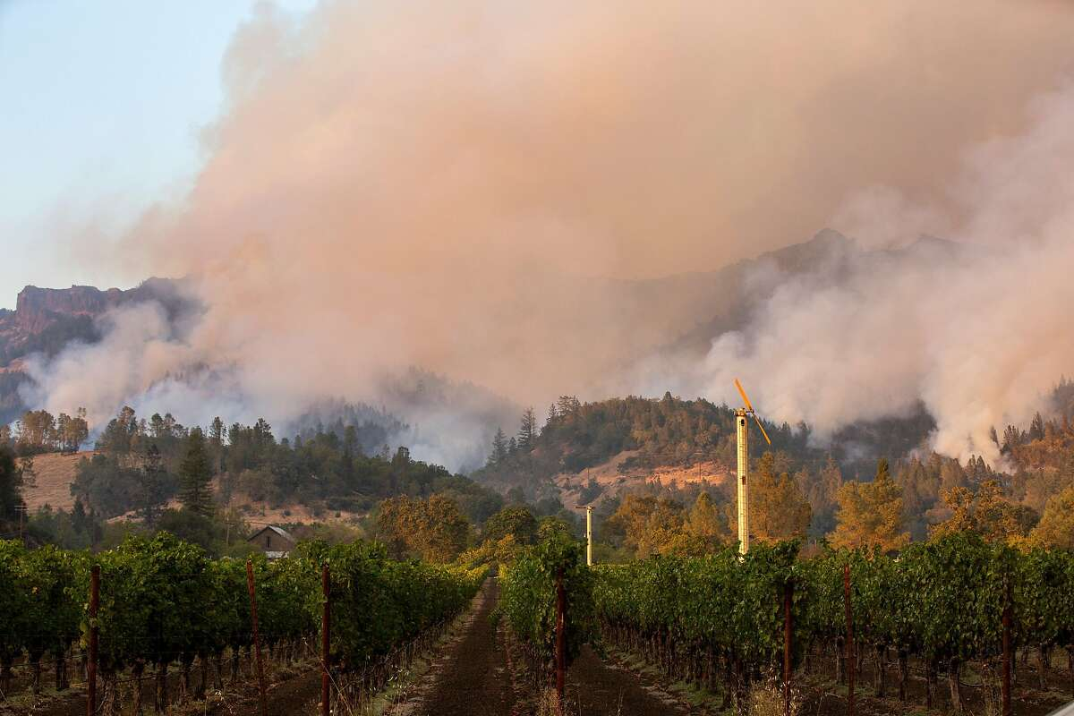 The Glass Fire seen from Highway 29, Wednesday, Sept. 30, 2020, in Calistoga, Calif.