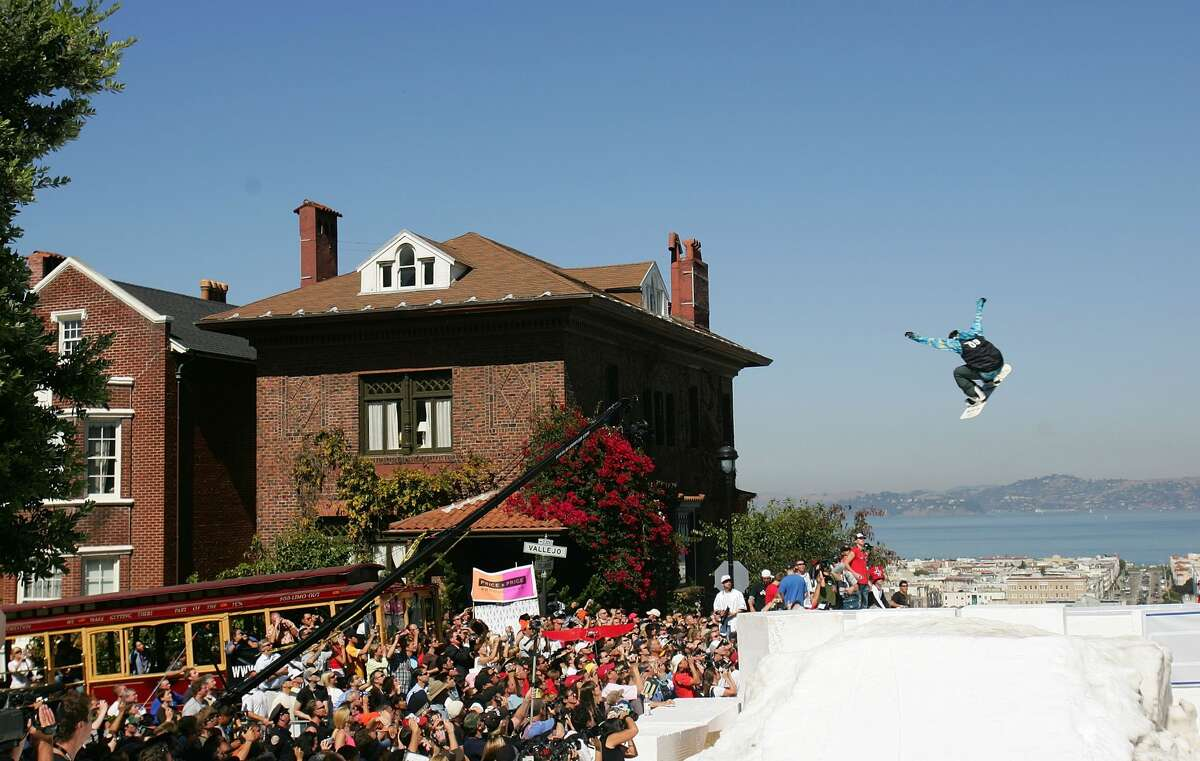Travis Parker #9 launches off the jump during a promotional ski jump put on by Icer Air on Filmore Street on September 29th, 2005 in San Francisco, California.