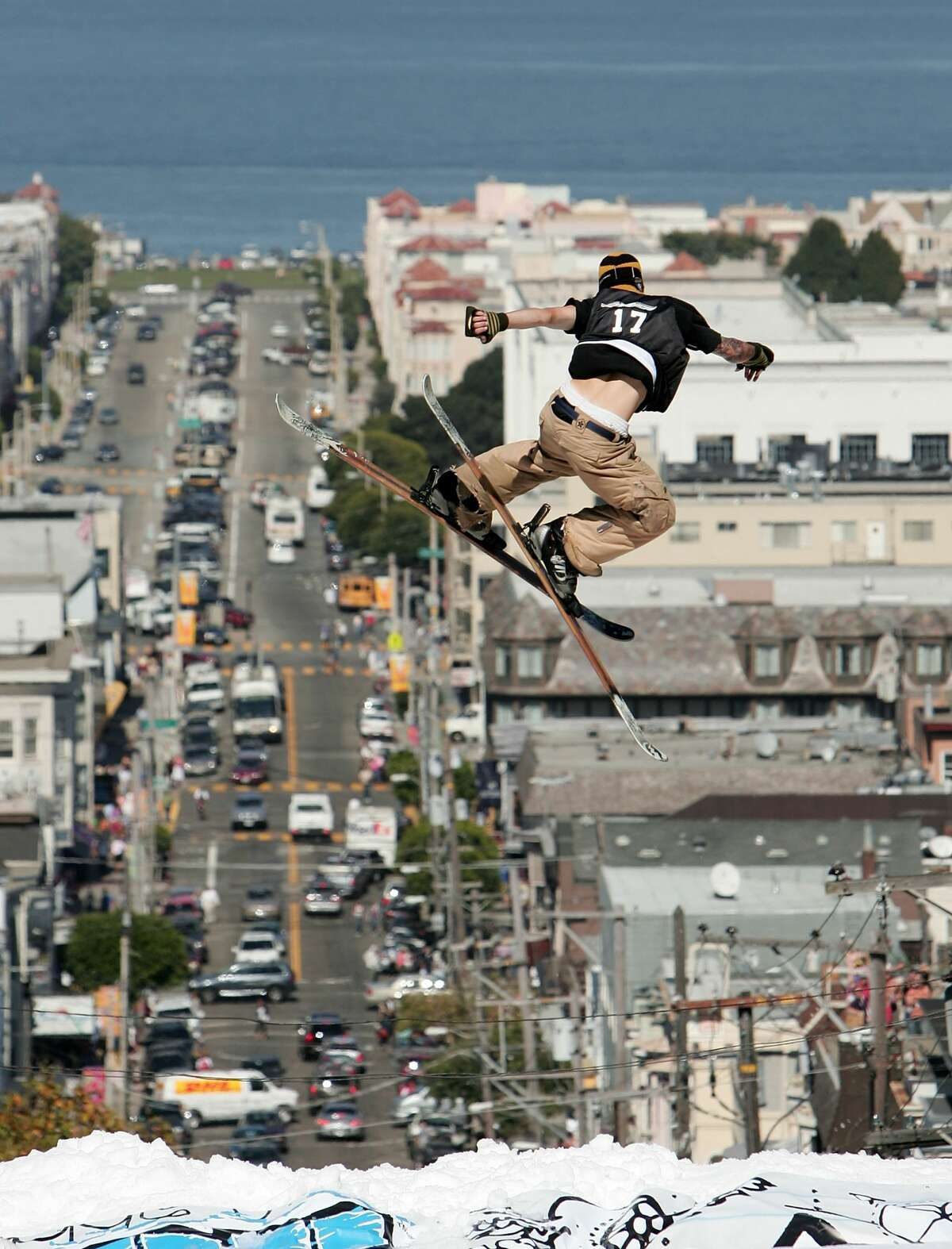 Andy Mahre #17 launches off the jump during a promotional ski jump put on by Icer Air on Filmore Street on September 29th, 2005 in San Francisco, California.