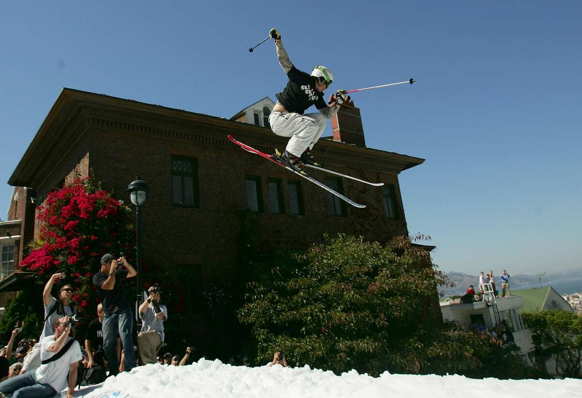 Jonny Moseley launches off the jump during a promotional ski jump put on by Icer Air on Filmore Street on September 29th, 2005 in San Francisco, California.
