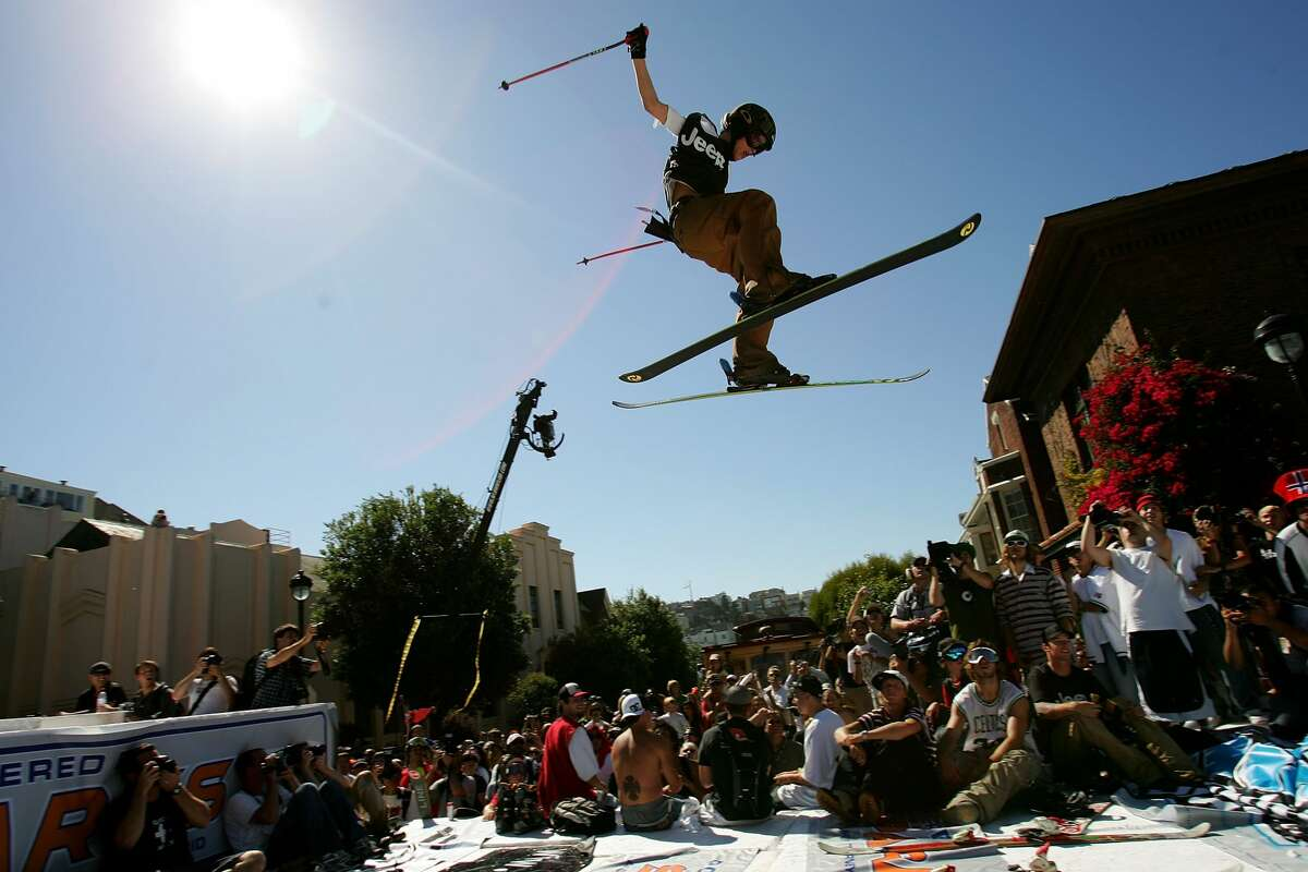 Kye Petersen launches off the jump during a promotional ski jump put on by Icer Air on Filmore Street on Sept. 29, 2005, in San Francisco, Calif.