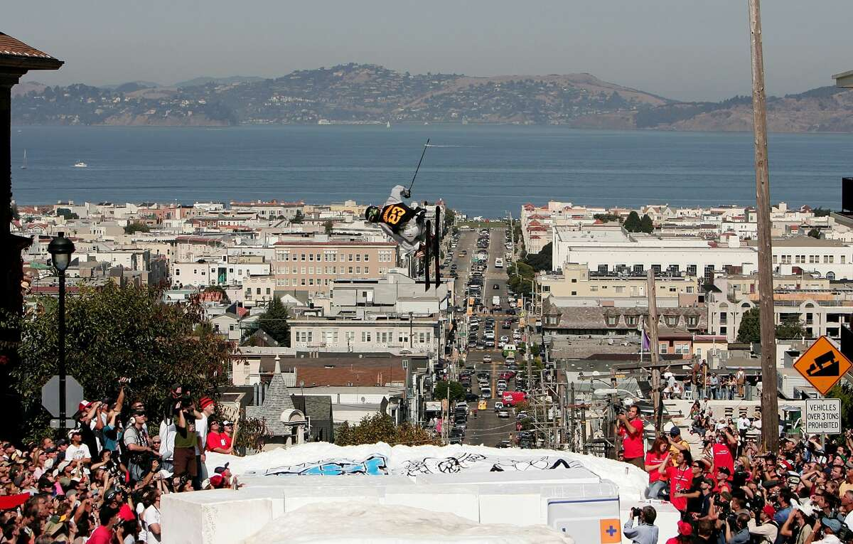 C.R. Johnson launches off the jump during a promotional ski jump put on by Icer Air on Filmore Street on Sept. 29, 2005, in San Francisco, Calif.