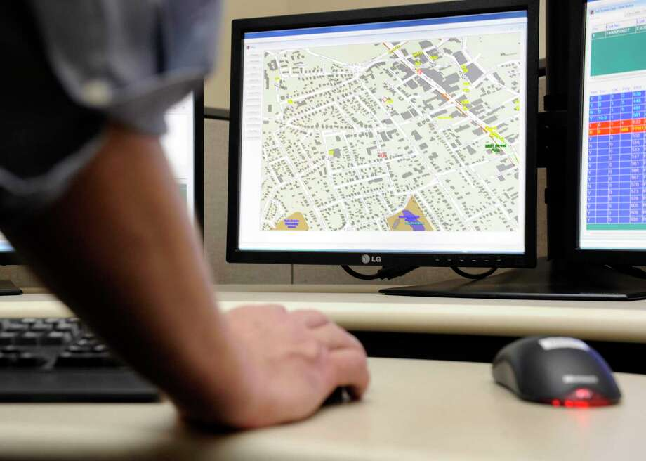 A file photo of a vehicle location system in the 911 dispatch center in Danbury, Conn. Photo: Hearst Connecticut Media File Photo / The News-Times