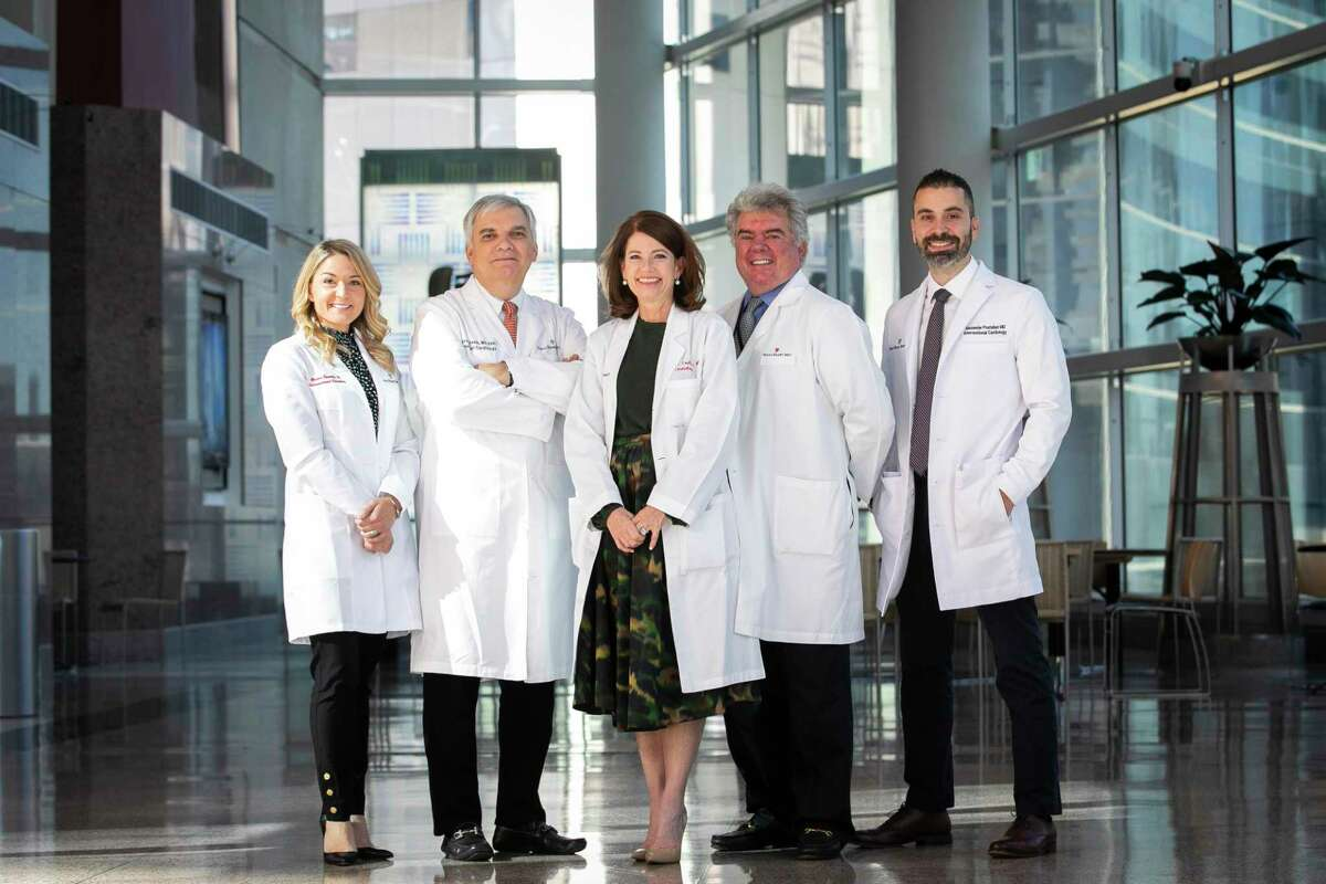 Physicians Briana Costello, Emerson Perin, Stephanie Coulter, Alberto Lopez and Alexander Postalian, at the Texas Heart Institute on Wednesday, Sept. 30, 2020.