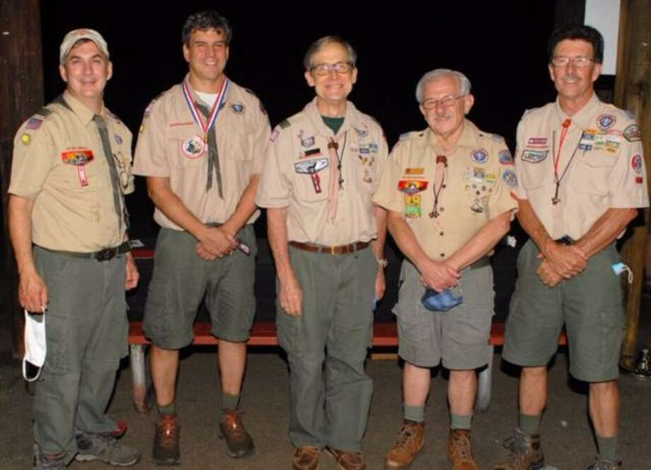 Troop 76 Scoutmasters Matthew Breitenbach, Unit Leader Award 2020; Julian Trotman, Spark Plug Award 2020; and 3 District Award of Merit Winners, Bruce Bowlus 2012; Jay Lubin 2001; and Michael Carpenter 2002. Photo: BSA Troop 76