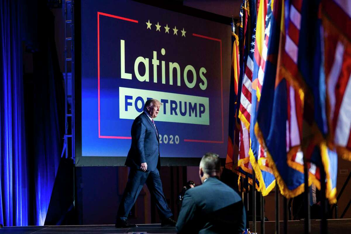 President Donald Trump arrives for a Latinos for Trump Coalition roundtable campaign event at Arizona Grand Resort & Spa in Phoenix, Monday, Sept. 14, 2020. (Doug Mills/The New York Times)