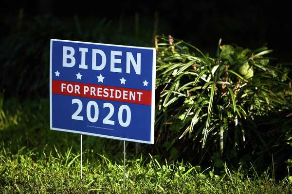 A campaign sign for 2020 Democratic presidential candidate Joe Biden outside a home in Charlotte, N.C., on Sept. 21, 2020.