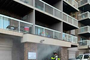Firefighters extinguished a two-alarm blaze at the Broadmoor Apartments on Mix Avenue in Hamden Wednesday.