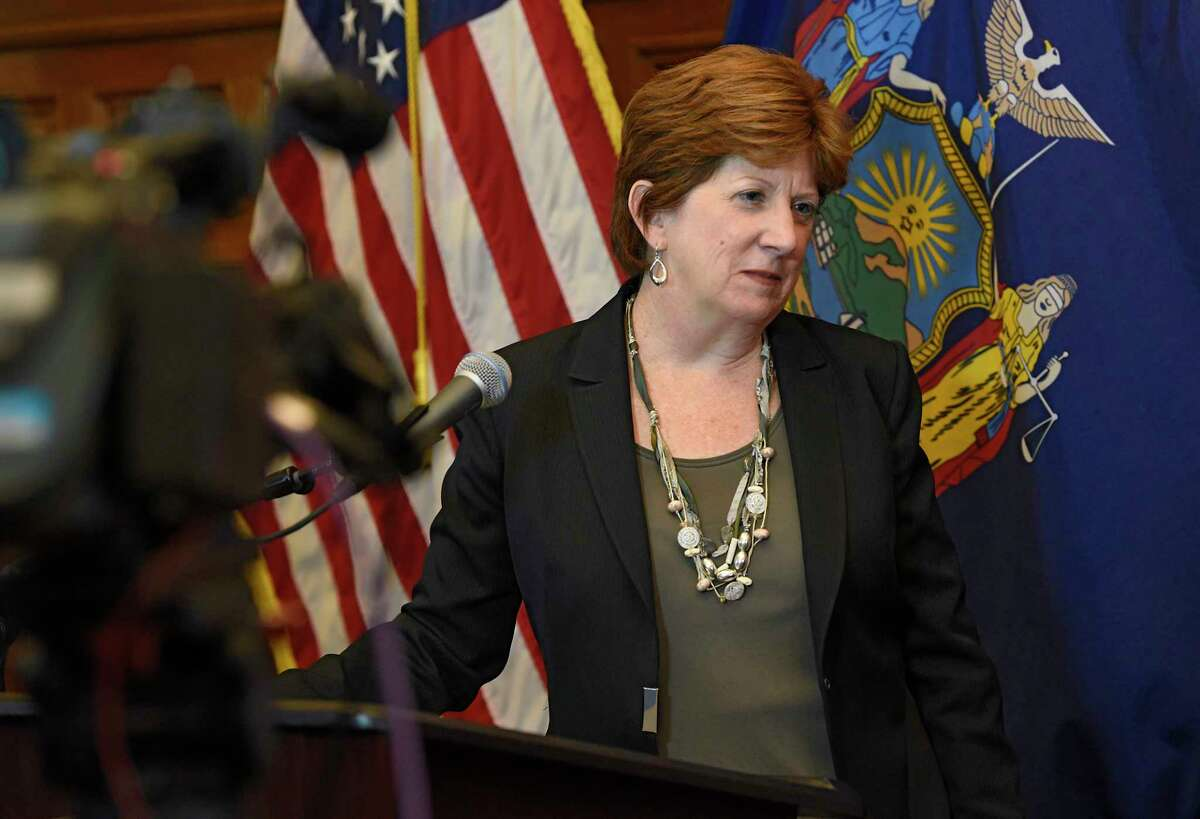 Mayor Kathy Sheehan looks at a computer screen as she listens to questions from the city council members after presenting her 2021 proposed city budget at City Hall on Thursday, Oct. 1, 2020 in Albany, N.Y. Sheehan gave her State of the City address on Feb. 1, 2021. (Lori Van Buren/Times Union)