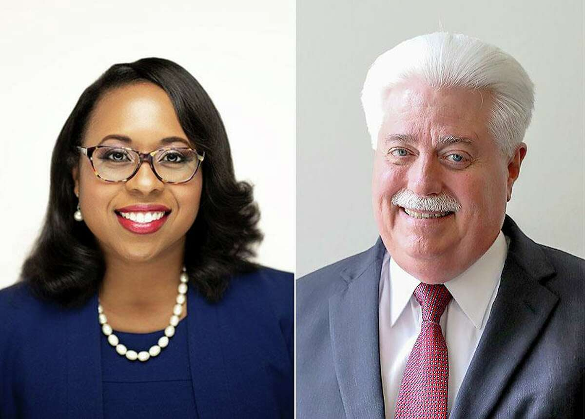 Democrat Teneshia Hudspeth, left, and Republican Stan Stanart are running for Harris County clerk in the November election. Hudspeth is the chief deputy to Clerk Chris Hollins, who is not running, while Stanart previously served as clerk until he was unseated in 2018.