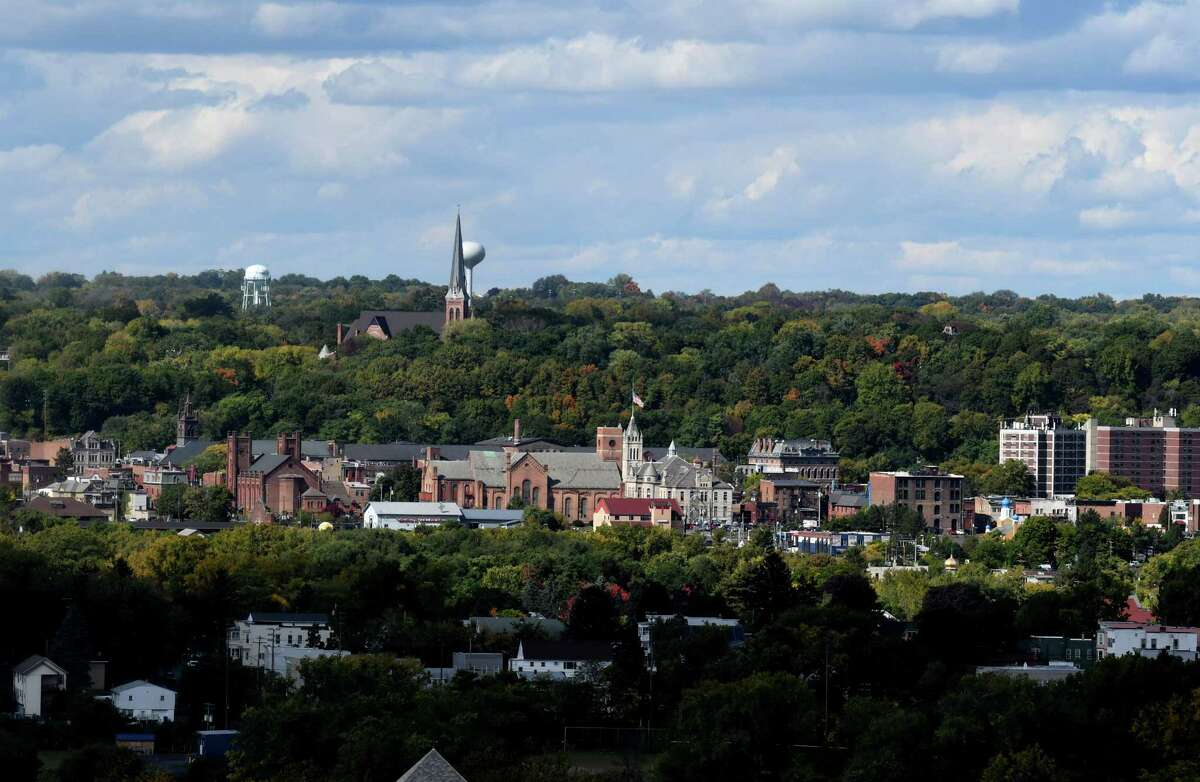 The City of Cohoes is seen from Oakwood Cemetery on Thursday, Oct. 1, 2020, in Troy, N.Y. New York State DEC is collecting soil and water samples near the Norlite facility in Cohoes to detect for PFAS contamination. (Will Waldron/Times Union)