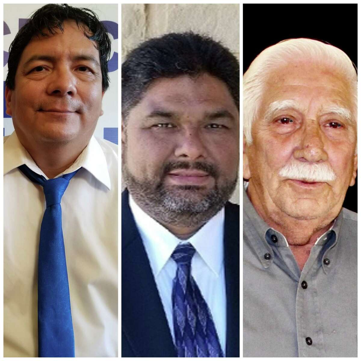 """Leo Salas, 80, at right, said he isn't ready to retire after 26 years on the Somerset ISD board. But Francisco """"Franky"""" De Luna, 55, from left, and Frank Munoz, 51, want to bring some fresh perspective to the board."""