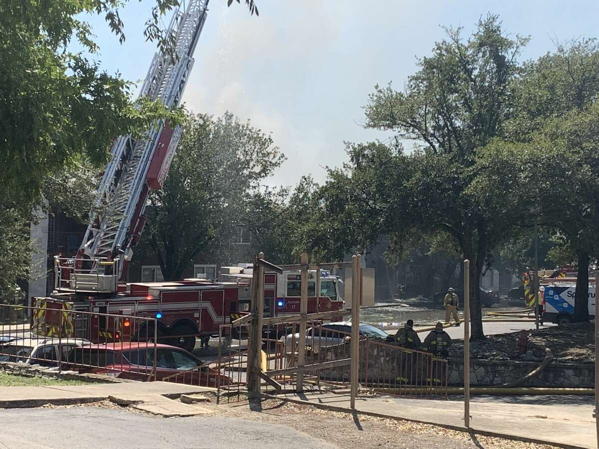 San Antonio firefighters battling a structure fire Thursday on the Northeast Side.