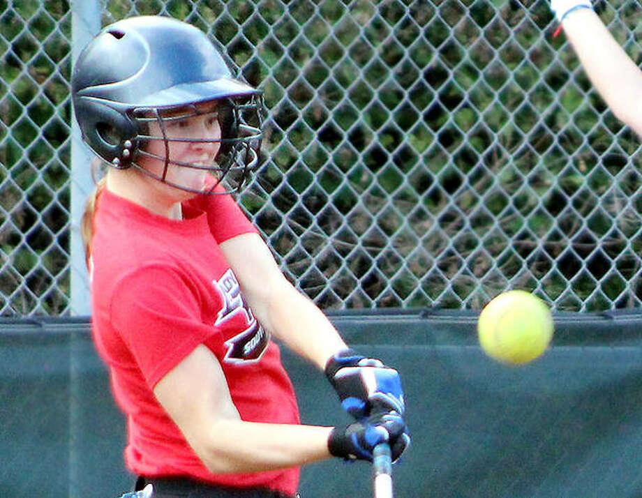 Madeline Strieker, a freshman from Breese Mater Dei, connects on a pitch during a practice session earlier this week at the Trailblazers softball facility adjacent to the Godfrey campus. LCCC, which plays its regular season in the spring, in in fall off-season practice, its first time back on the field since the NJCAA cancelled last spring's season because of the COVID-19 pandemic. Photo: Pete Hayes | The Telegraph