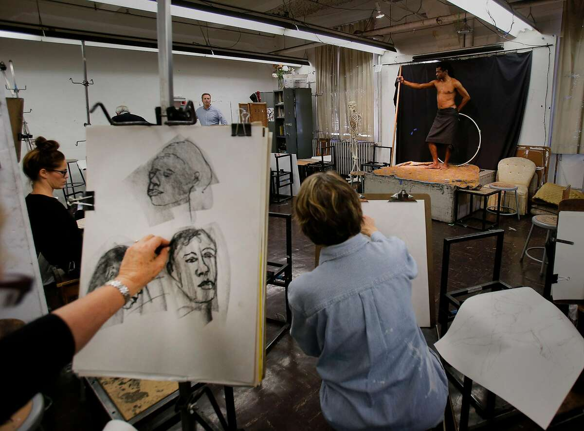 At the City College of San Francisco drawing class, students use a model Tuesday November 25, 2014. Fort Mason, the 35 year old arts center in San Francisco, Calif., is thriving and growing with new displays, classes and a new lounge.