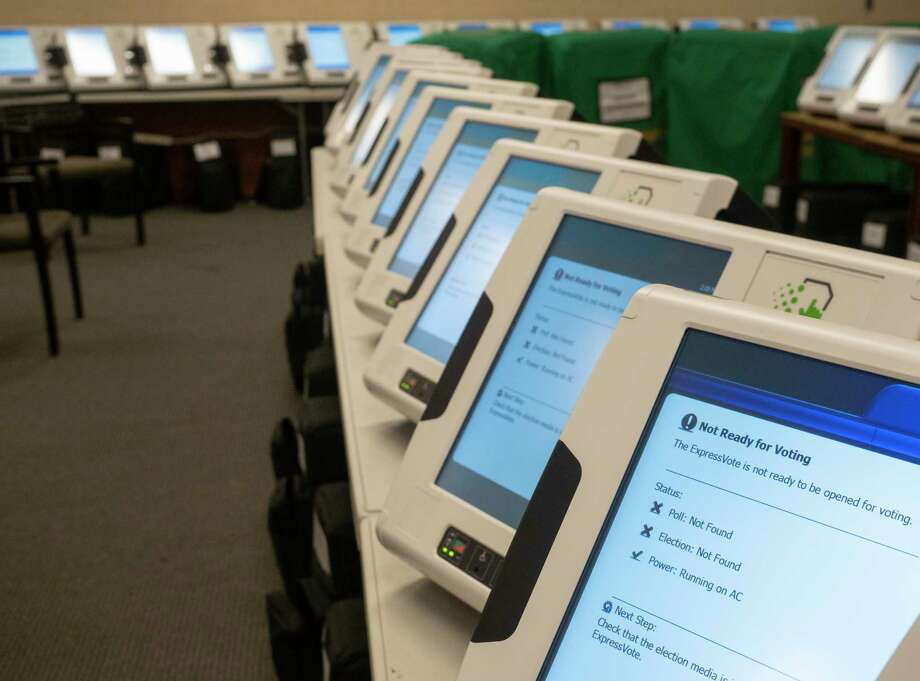 Voting machines wait to be programed 10/01/2020 as the Midland County Election Office readies for early voting to start. Tim Fischer/Reporter-Telegram Photo: Tim Fischer, Midland Reporter-Telegram