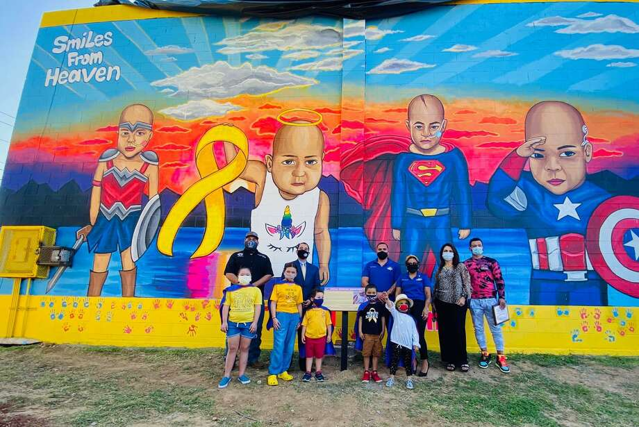 The City of Laredo partnered with the organization Smiles from Heaven to unveil this mural at Albert Ochoa Park on the final day of Childhood Cancer Awareness Month. Photo: Courtesy /Bella Strong