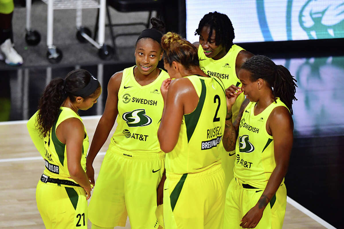 From a statistical standpoint, the Storm were the WNBA's top team in 2020. Seattle led the league in both offensive rating (110.4 points scored per 100 possessions) and defensive rating (95.9 points allowed per 100 possessions) during the regular season. Seattle's willingness and success sharing the ball was apparent, too. The team averaged a league-high 21.9 assists per game during the season, and an eye-popping 68.8% of the team's baskets were assisted on. Both Bird and guard Jordin Canada ranked in the top six in the WNBA's leaders in assists per game. Defensively, there wasn't a WNBA team better than the Storm. On top of the league-best defensive rating, Seattle ranked No. 1 in points allowed per game (76.0), opponent field goal % (40.1) and steals per game (10.0). Forward Alysha Clark, the runner-up for the 2020 Defensive Player of the Year award, was a unanimous first-team all-defense selection. Stewart also made the second-team defense, and forward Natasha Howard won Defensive Player of the Year in 2019.