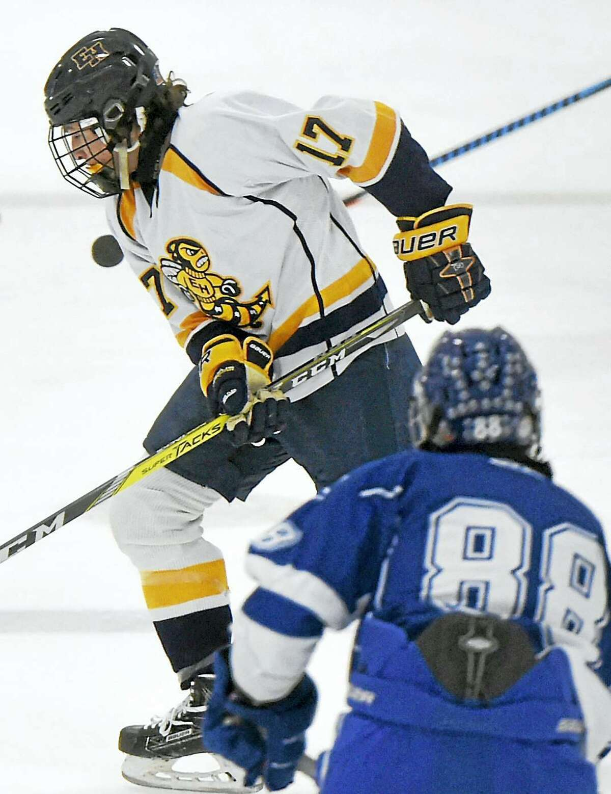 East Haven's Nick Capone, shown during a January 31, 2017 game against West Haven, is expected to be selected in the upcoming NHL draft.