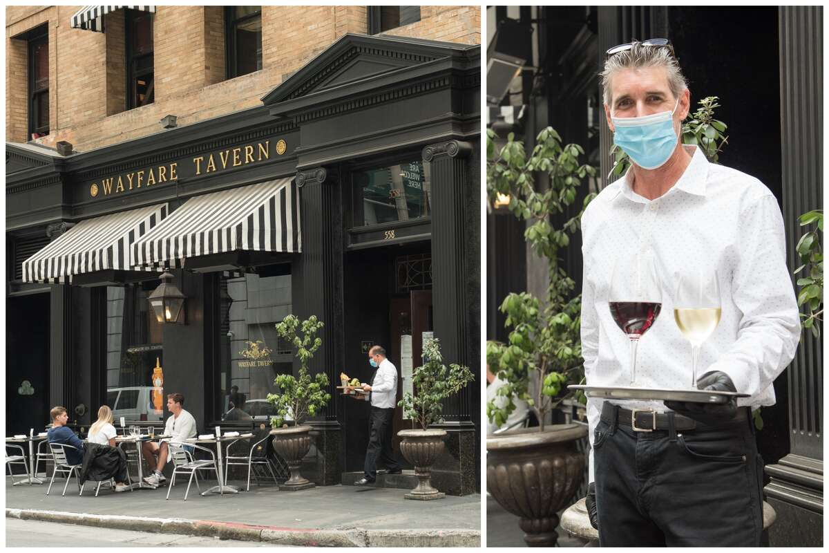 In this combination image, patrons of Wayfare Tavern, left, opt to dine outside. At right is Brian Stroul, one of the managers at Wayfare Tavern.