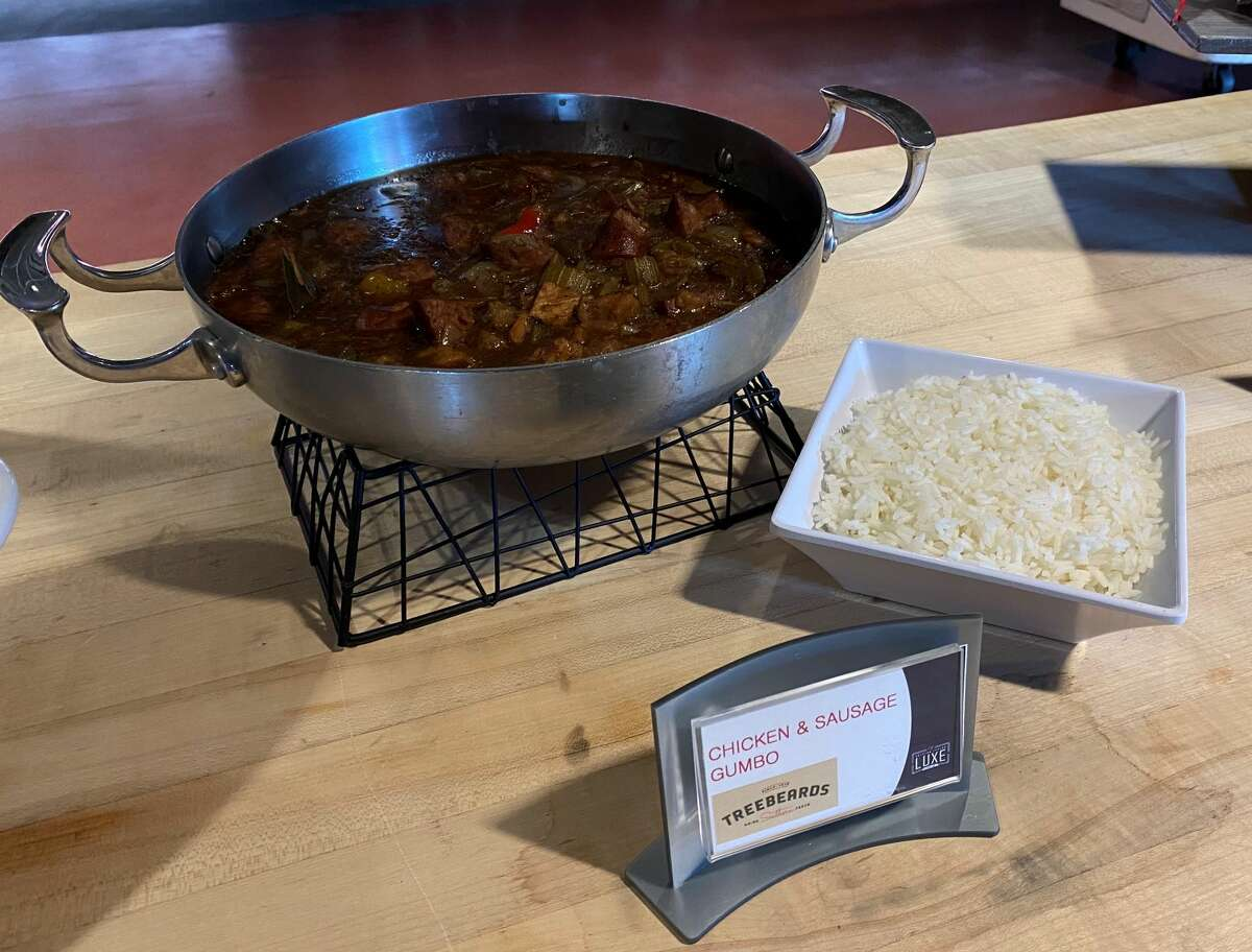 Treebeard's Chicken and Sausage Gumbo: Flavor combines friend chicken, smoked sausage and celery, bell pepper and onions in a deep rich brown roux.