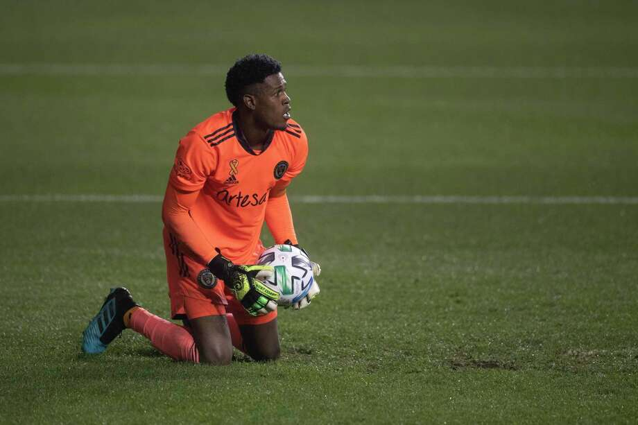 Former UConn All-American goalkeeper Andre Blake will be returning to Connecticut when the Philadelphia Union play Toronto FC on Saturday at Rentschler Field. Photo: Mitchell Leff / Getty Images / 2020 Getty Images