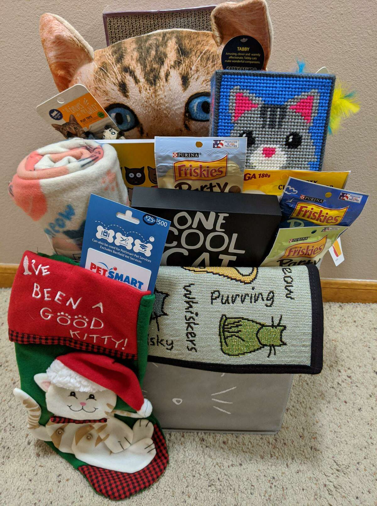 A cat goodies basket will be available at Juliane's Compassion For Critters' fourth annual event, an online basket raffle with tickets on sale via the website from Oct. 1st through October 30th and a live Facebook event to draw the winners on Nov. 1st.