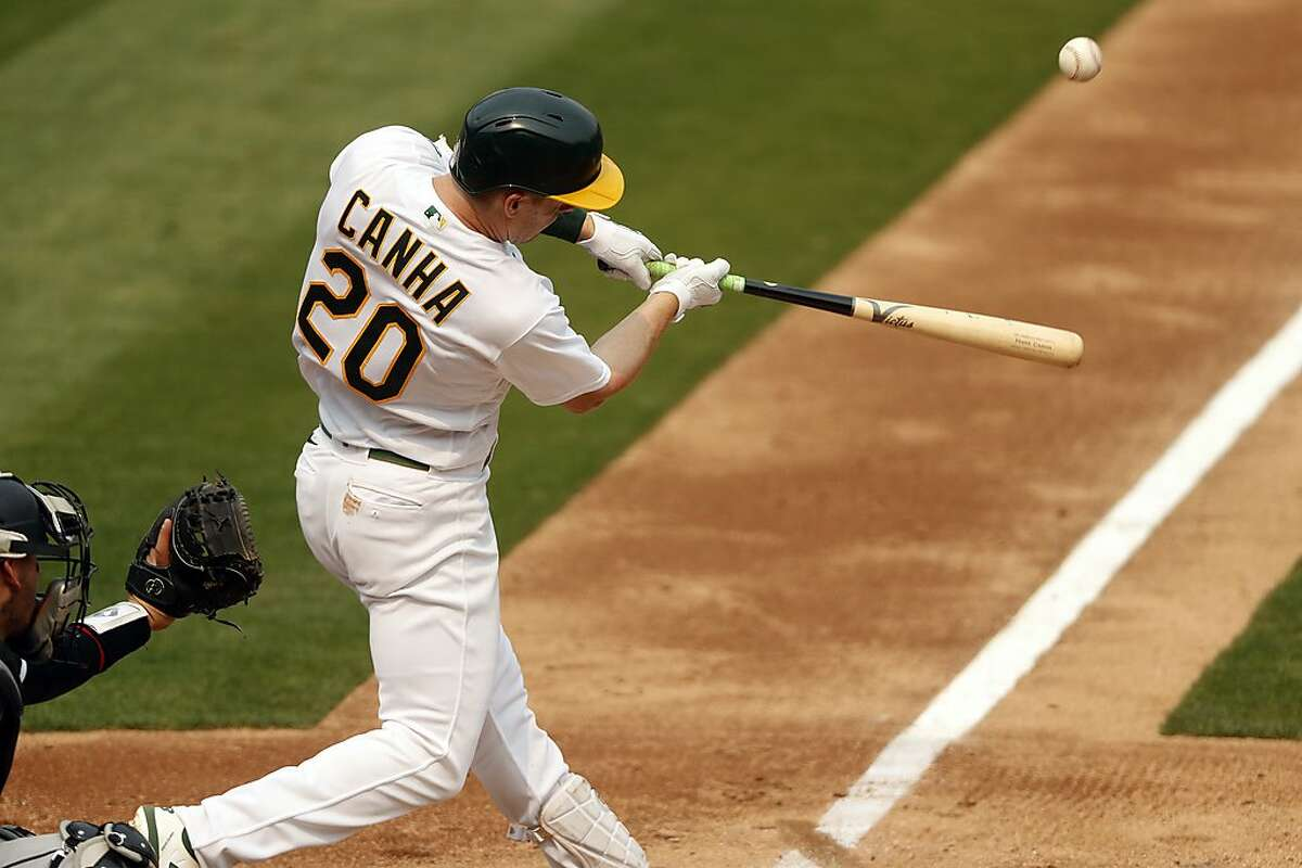 Mark Canha led the A's in on-base percentage in 2019 (.396) and 2020 (.387) and is among the players manager Bob Melvin is considering to bat leadoff.