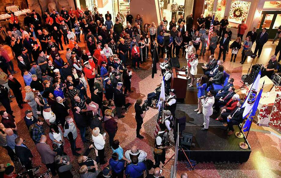 """The start of """"Vets Rock"""" activities on the shops concourse at Mohegan Sun in 2018. This year's event is still being considered. Photo: Mohegan Sun / Contributed Photo"""