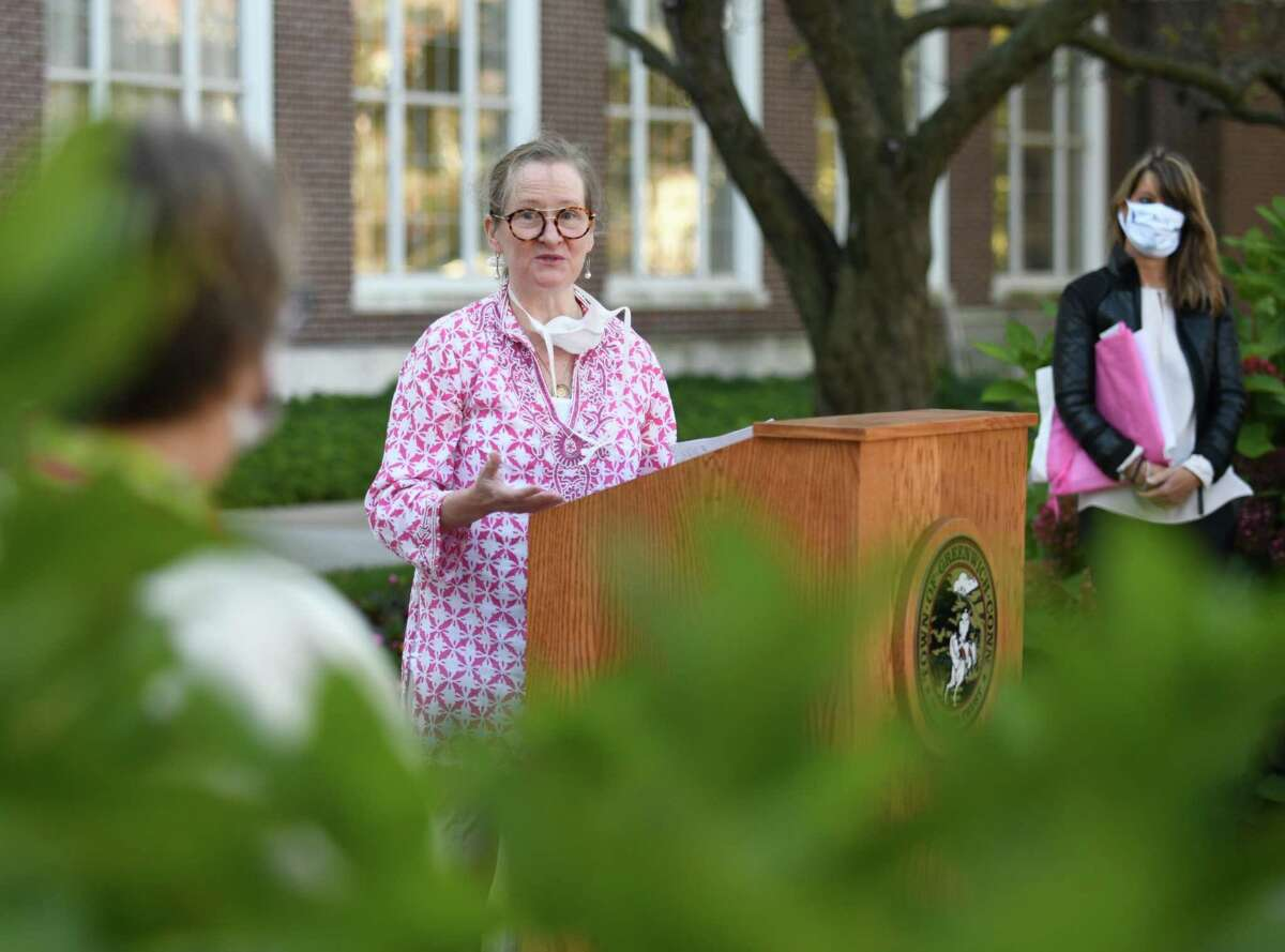 Dr. Barbara Ward, Director of Breast Cancer Services at Greenwich Hospital, speaks during the Breast Cancer Alliance flag-raising at Town Hall in Greenwich, Conn. Thursday, Oct. 1, 2020. The Greenwich-based non-profit raised a flag with First Selectman Camillo on the first day of Breast Cancer Awareness Month. BCA's fashion show fundraiser will be held virtually this year.