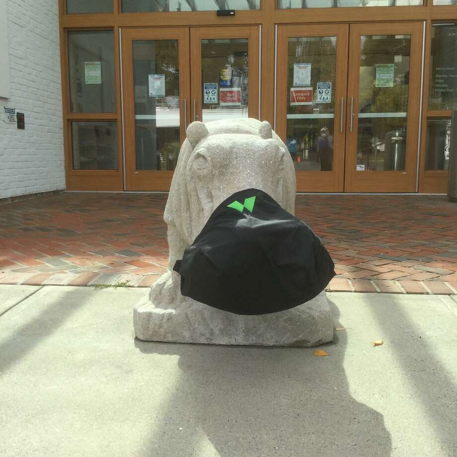 Wilton Library's mascot hippo greets patrons with a reminder to wear a mask for Express Services appointments. Photo: The Wilton Library