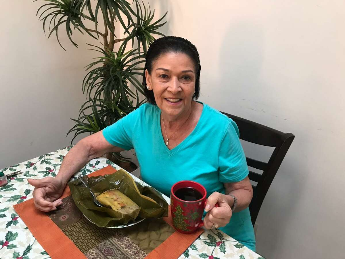 My tia Letty about to enjoy a cup of Costa Rican coffee with one of her delectable Costa Rican tamales.