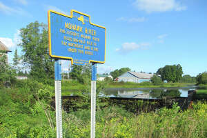 A historical marker desiginating the source of the Mohawk River near West Leydon, N.Y. (Herb Terns / Times Union)