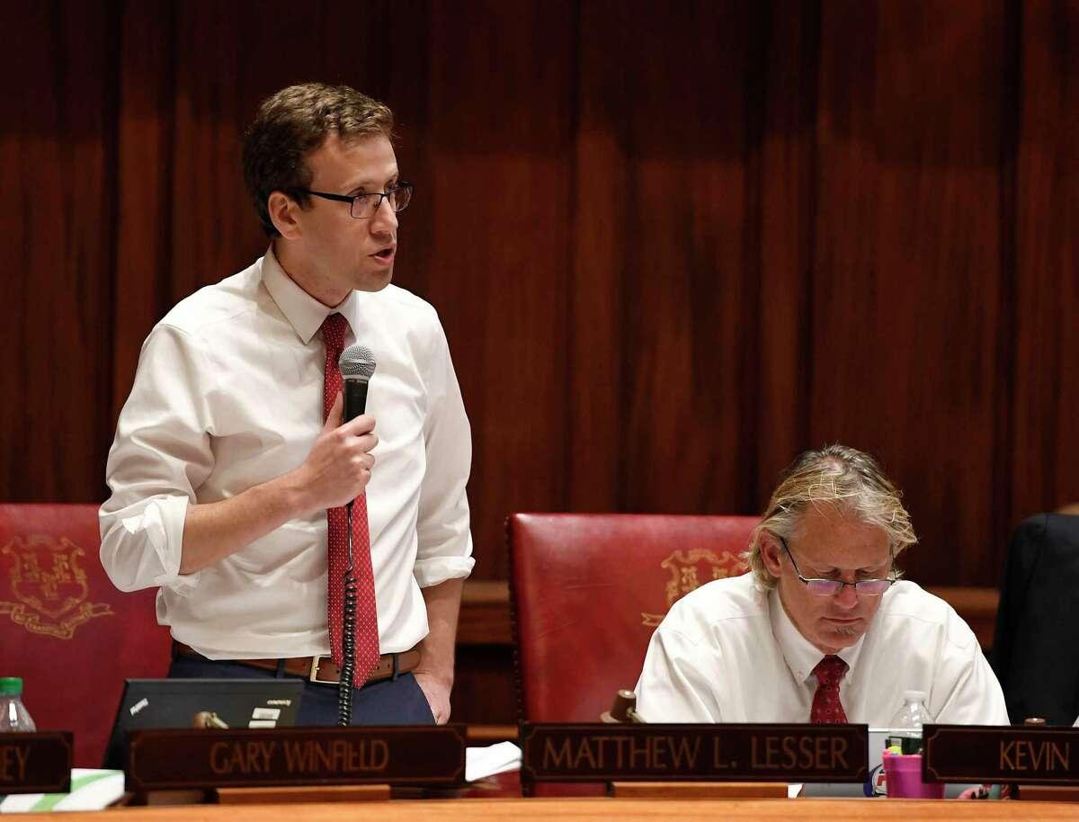 State Sen Matt Lesser, D-Middletown stood to discuss a bill during the 2019 legislative session.