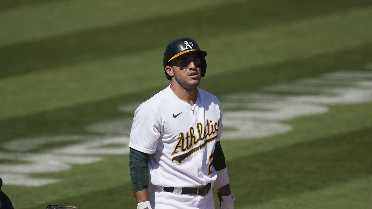Oakland Athletics' Ramon Laureano against the Seattle Mariners during a baseball game in Oakland, Calif., Sunday, Sept. 27, 2020. (AP Photo/Jeff Chiu)