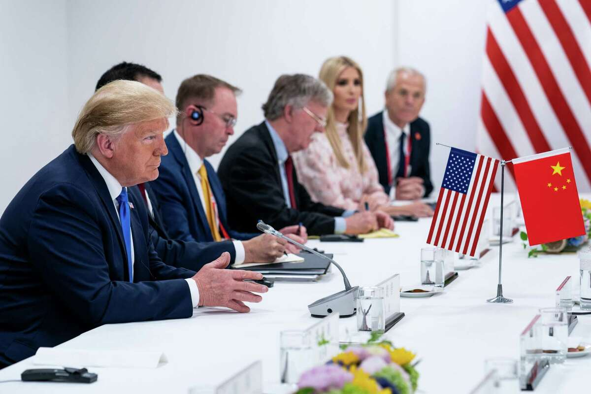 FILE -- President Donald Trump during a meeting of the Group of 20 in Osaka, Japan, June 29, 2019. As a leader, Trump has been more interested in cutting a deal on trade than confronting China on human rights abuses. (Erin Schaff/The New York Times)