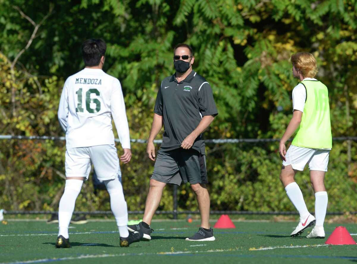 Boys soccer game between New Milford and Abbott Tech high schools took place with precautions on Thursday afternoon at Broadview Middle School, Danbury, Conn.
