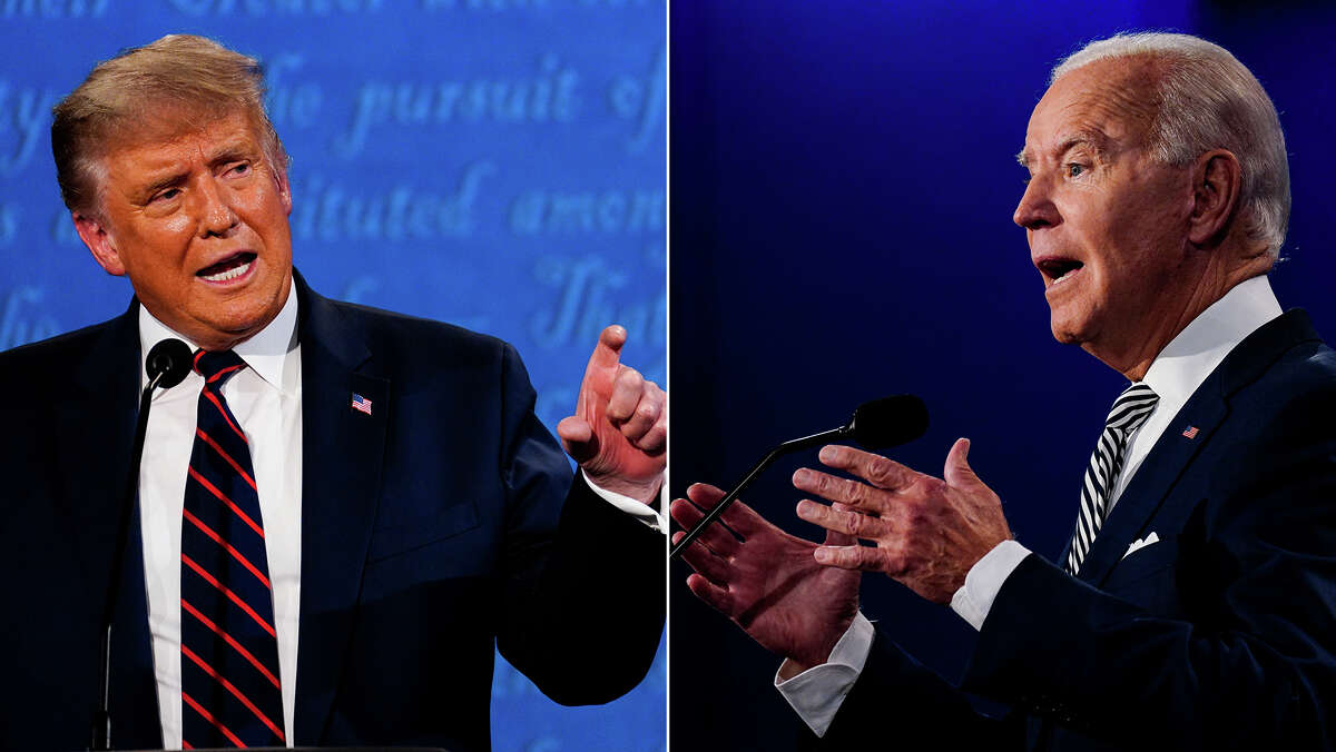 President Trump and Joe Biden at the first presidential debate Tuesday in Cleveland.