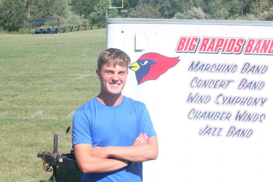 Big Rapids' Ben Knuth stands outside the high school building as he prepares for a practice earlier this season. (Pioneer photo/John Raffel)